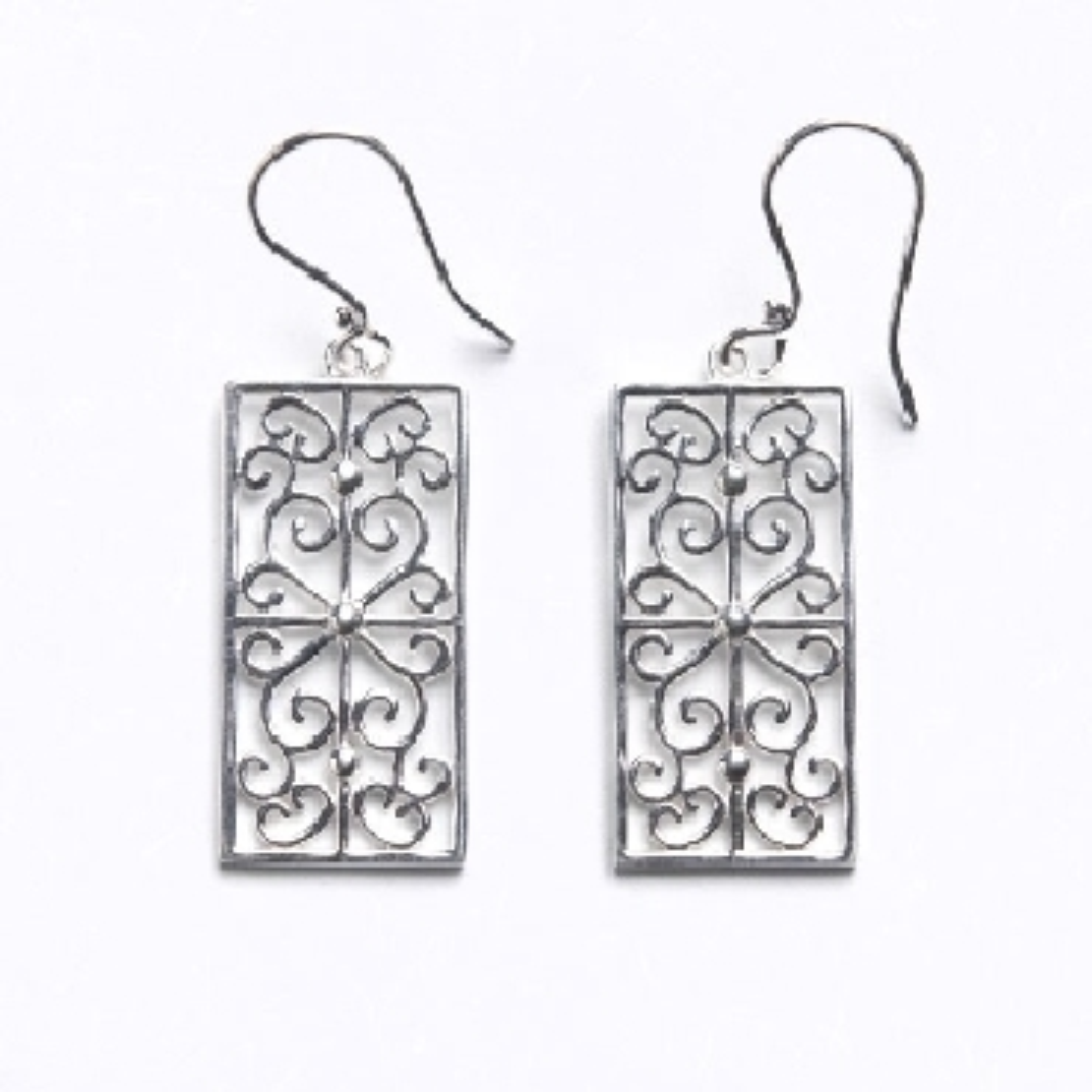 Sterling Silver Southern Gates Scrolling Terrace Earrings.  E491
