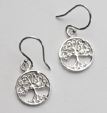 Southern Gates Small Round Oak Tree Earring. Sterling silver.  10mm. E416.