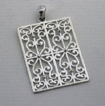 Sterling silver Souther Gates rectangle gate pendant. P850
