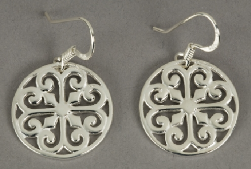 Sterling silver Southern Gates earrings. 5/8   tall by  5/8   wide (approx.) E342