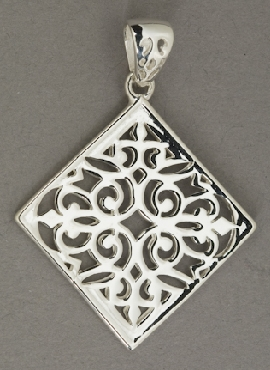 Sterling Silver Southern Gates Diamond shaped filigree pendant. 1-5/8   high including bale x 1-1/8   wide (approx.) P200