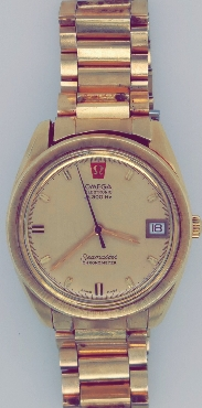 Gold Tone Omega Seamaster Wristwatch Electronic f300 Chronometer  Comes with Box