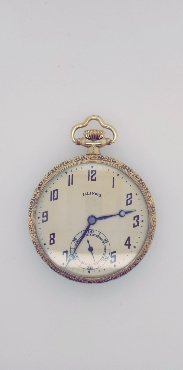 14K Gold Filled Illinois Open Faced Pocketwatch with Decorative Edges and Engraving on the Back  17J/12S SN: 3712644 Pendant/Nickel Movement Adjusted