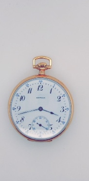 Gold Tone Howard Open Faced Pocketwatch  17J/12S Pendant/Nickel Movement Adjusted SN: 1139994 Circa 1912