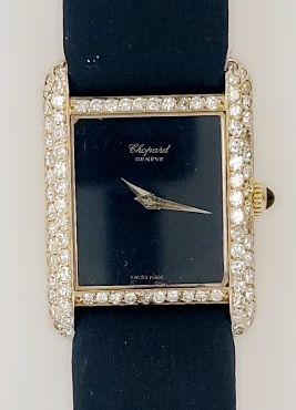 18K Ladies Chopard Watch with Black Band