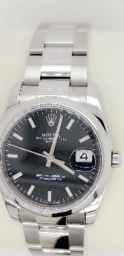Men s Rolex Oyster Perpetual Date 34 Black Dial Stainless Steel Bracelet Automatic Men s Watch Serial Number 8DD33516 Circa 2019 Comes with Inner Box; Outer Box and All Original Paperwork.