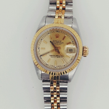 1989 Ladies Two Tone Rolex Oyster Perpetual DateJust with Gold Dial; 26mm Ref#: 69173