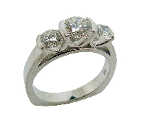 18K white gold three stone engagement ring; set with an ideal round brilliant cut diamond by Hearts On Fire;  -centre: 0.646ct I; SI1 (HOF118547) -accented with ideal round brilliant cut diamonds by Hearts On Fire; 0.281ct I; SI1 (HOF119020) & 0.28