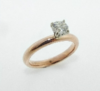 14 KRW engagement ring 2.5mm band set with: - 0.462ct  H  VS2 (HOF111610) Ideal round brilliant cut diamond by Hearts On Fire