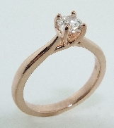 14K rose gold engagement ring; set with an ideal round brilliant cut diamond by Hearts On Fire - 0.434ct G; SI1 (HOF101632)
