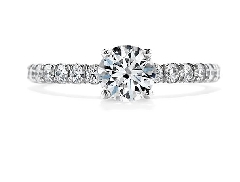 18K white gold engagement ring known as;   Enrichment Solitaire   by Hearts On Fire Set with ideal round brilliant cut diamonds by Hearts On Fire:       -center:  0.772ct I VS2 (HOF84769)       -accented with side diamonds; 0.51 carat total weight;