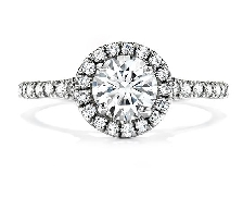 Platinum engagement ring known as;   Transcend   by Hearts On Fire Set with ideal round brilliant cut diamonds by Hearts On Fire:     -Center: 0.744 carat H VS2 (HOF90171)     -Accented with ideal round brilliant cut diamonds by Hearts On Fire; 0.4