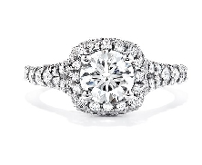 18K White Gold engagement ring; know as   Acclaim Signature Complete Engagement Ring   by Hearts On Fire. Set with ideal round brilliant cut diamonds by Hearts On Fire:   - center: 0.530ct I SI1 (HOF130022) Signature Series   - accented with 0.75car