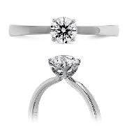 18K white gold solitaire engagement ring; known as  Signature Solitaire  by Hearts On FIre -set with an ideal round brilliant cut diamond by Hearts On Fire; 0.586ct H; SI1 (HOF121697) *Sensational Series