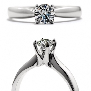 18K white gold engagement ring; known as   Serenity Select   by Hearts On Fire. Set with ideal round brilliant cut diamonds by Hearts On Fire 0.725 carat J VS2 (HOF126990)