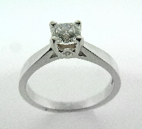 18 karat white gold engagement ring; known as   Modern Leaf Dream Solitaire   by Hearts On Fire. Set with one 0.491 carat Dream diamond by Hearts On Fire; G; VVS1; DREAM22247.