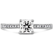 Lady s white gold engagement ring; known as   Signature   by Hearts On Fire; stamped   18K   and with Hearts On Fire trademark. Claw-set in the center with one 0.496 carat I VS1 Dream diamond by Hearts On Fire; laser inscribed on the girdle   HEARTSONFIRE