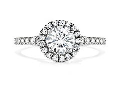 Platinum Engagement ring; known as;   Transcend Single Halo   by Hearts On Fire. Set with ideal round brilliant cut diamonds by Hearts On Fire. - Center: 2.018 carat H SI1 (HOF110418) - Accented with side diamonds 0.50 carat total weight G/H; VS-SI