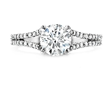 18K white gold engagement ring; known as  Felicity Split Shank  Sensational Series by Hearts On Fire; set with an ideal round brilliant cut diamond by Hearts On Fire -centre: 0.521ct (HOF125465) (G-I; VS1-SI1) -accented with ideal round brilliant c