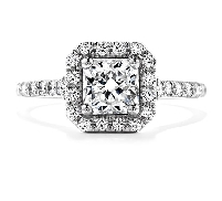 Platinum engagement ring known as;   Transcend Dream   by Hearts On Fire Set with a Sensational Series ideal Dream cut diamond by Hearts On Fire:     -Center: 0.70ct H VS2 (DRM20617)     -Accented with ideal round brilliant cut diamonds by Hearts O