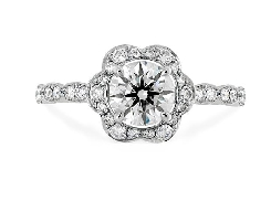 18 K white gold engagement ring; known as   Lorelei Floral Engagement ring   by Hearts On Fire. Set with ideal round brilliant cut diamonds by Hearts On Fire:   - center: 0.551ct G VS2 (HOF122370) Sensational Series   - accented with 0.79 carat tota