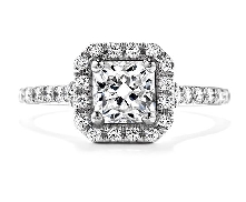 Platinum engagement ring; known as   Transcend Single Halo Solitaire  ; set with 1.082ct J VVS2 (DREAM19187). Accented with G-H VS-SI ideal round brilliant cut diamonds by Hearts On Fire; totaling 0.48 carat.