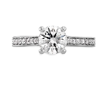 18K white gold engagement ring; known as  Enticement Channel  Sensational Series by Hearts On Fire; set with an ideal round brilliant cut diamond by Hearts On Fire -centre: 0.717ct G; SI1 (HOF119739) -accented with ideal round brilliant cut diamond