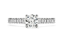 Platinum engagement ring; known as  Enticement  by Hearts On Fire; set with a Sensational series ideal round brilliant cut diamond by Hearts On Fire -centre: 0.50ct G; VS2 (HOF115514) -accented with ideal round brilliant cut diamonds by Hearts On F