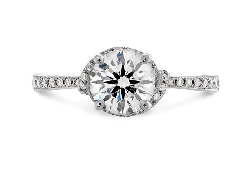 18K White gold engagement ring known as;   Optima Engagement ring diamond band   by Hearts On Fire Set with a Signature Series ideal round brilliant cut diamonds by Hearts On Fire:    -center: 0.512ct I; VS2 (HOF136093)    -accented with side diamo