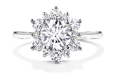 18K white gold engagement ring known as;   Delight Lady Di Solitaire   by Hearts On Fire Set with a Sensational Series ideal round brilliant cut diamonds by Hearts On Fire:     -center: 0.59ct H VS1     -accented with 0.30 carat total weight; G/H;