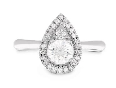 18 K white gold engagement ring known as   Destiny Teardrop Halo   by Hearts On Fire set with: - 0.302 ct I; VS2 ideal; round brilliant cut diamond by Hearts On Fire (HOF 1010799) - accented with 0.118 cttw ideal; round brilliant cut diamond by Heart