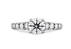18 KW engagement ring known as   Transcend Premier   by Hearts On Fire set with:  -0.508ct; I; SI1 (HOF139218) Ideal; round brilliant cut diamond by Hearts On Fire - accented with 0.430cttw; I/J; VS-SI Ideal; round brilliant cut diamonds by Hearts O