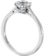 18K white gold ring   Simply Bridal Beaded Solitaire   By Hearts On Fire set with:  - 0.75ct I; VS1 HOF153143