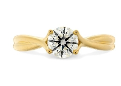 18K yellow gold ring   Simply bridal twist   by Hearts On Fire set with:  - 0.328ct; I-J; VS-SI HOF148124