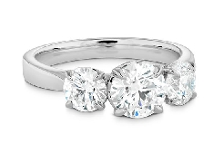 18KW Signature Classic 3 stone engagement ring by Hearts On Fire set with: - 0.576ct I; VS2 (HOF147275)  - 0.241ct I; VS2 (HOF152798) - 0.240ct I; VS2 (HOF152796)