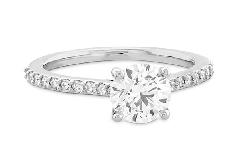 18KW Camilla Engagement ring by Hearts On Fire set with: - 0.520ct I; VVS2 HOF155384 - 0.12cttw I/J; VS-SI