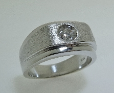 14KW Hearts On Fire mens band set with: - 0.21 ct ideal; round brilliant cut diamond by Hearts On Fire; G; SI1 Jeremiah