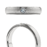Duets Mens Satin Band by Hearts On Fire 0.10ct VS-SI G-H 18K White Gold