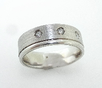 Men s Band with Hearts On Fire diamonds 14kWhite Gold 3 HOF=0.169 cttw SI/VS G/H