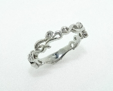 14K white gold band -set with ideal round brilliant cut diamonds by Hearts On Fire; 0.054 carat total weight; VS-SI; G/H