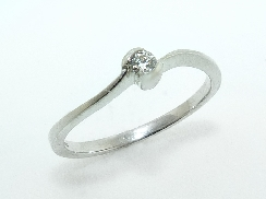 14k white gold promise ring set with 0.075ct SI G/H ideal round brilliant cut diamond by Hearts On Fire