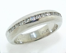 Platinum channel set band -set with ideal round brilliant cut diamonds by Hearts On Fire; 0.296 carat total weight; VS-SI; G/H