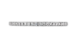 18K white gold band; known as  Lorelei Diamond Band  by Hearts On Fire -set with ideal round brilliant cut diamonds by Hearts On Fire; 0.13 carat total weight; VS-SI; G/H