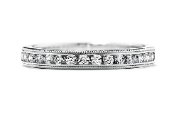 18K white gold band; known as  Eterne Milgrain Wedding Band  by Hearts On Fire; set with ideal round brilliant cut diamonds by Hearts On Fire 0.29 carat total weight; VS2-SI1; I/J