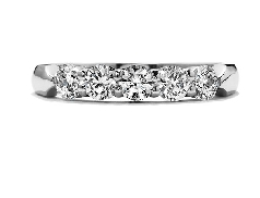 18K white gold band; known as  Five Stone Wedding Band  by Hearts On Fire -set with ideal round brilliant cut diamonds by Hearts On Fire; 0.96 carat total weight; VS-SI; I/J