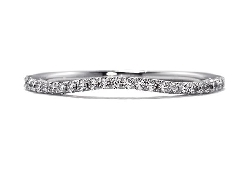 18K white gold band; known as  Felicity Wedding Band  by Hearts On Fire set with ideal round brilliant cut diamonds by Hearts On Fire; 0.15 carat total weight; VS2-SI1; G/H