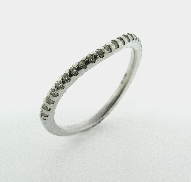 18K white gold band. Set with ideal round brilliant cut diamonds by Hearts On Fire; 0.146 carat total weight  G/H  SI