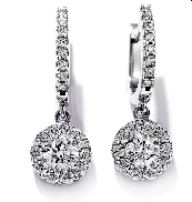 18K white gold earrings; known as  Fulfillment Diamond Drop  by Hearts On Fire -set with ideal round brilliant cut diamonds by Hearts On Fire; 1.15 carat total weight; VS-SI; I/J