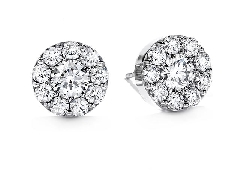 18K white gold earrings; known as  Fulfillment Stud  by Hearts On Fire -set with ideal round brilliant cut diamonds by Hearts On Fire; 1.40 carat total weight; VS-SI; I/J