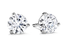 18K white gold earrings; claw set with two ideal round brilliant cut diamonds by Hearts On Fire; totaling 0.33 carats.